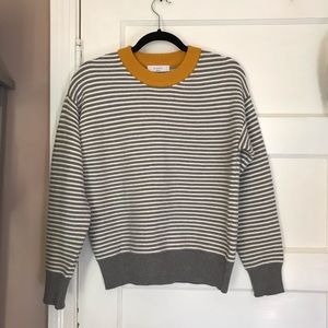 Yellow with grey white stripe sweater